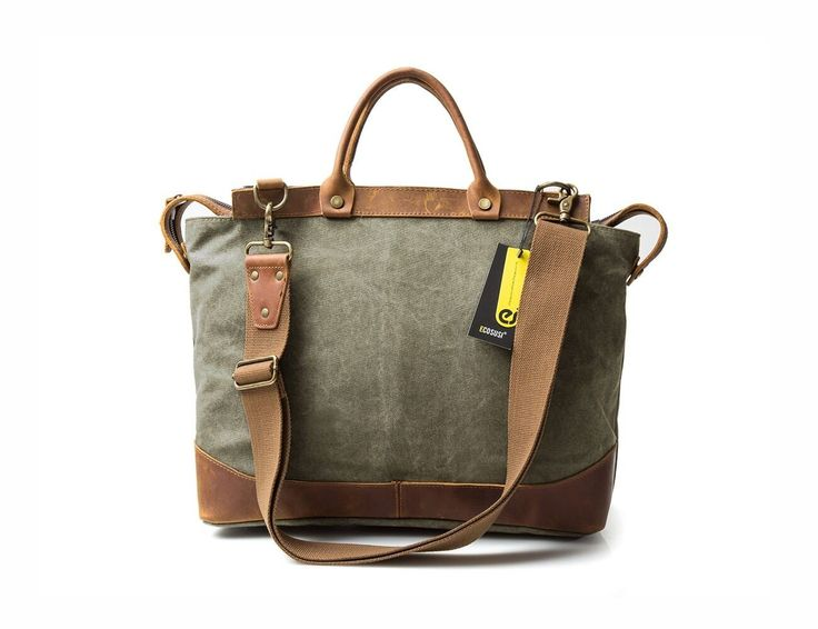 Grey canvas & leather bag for your weekend travel in vintage style