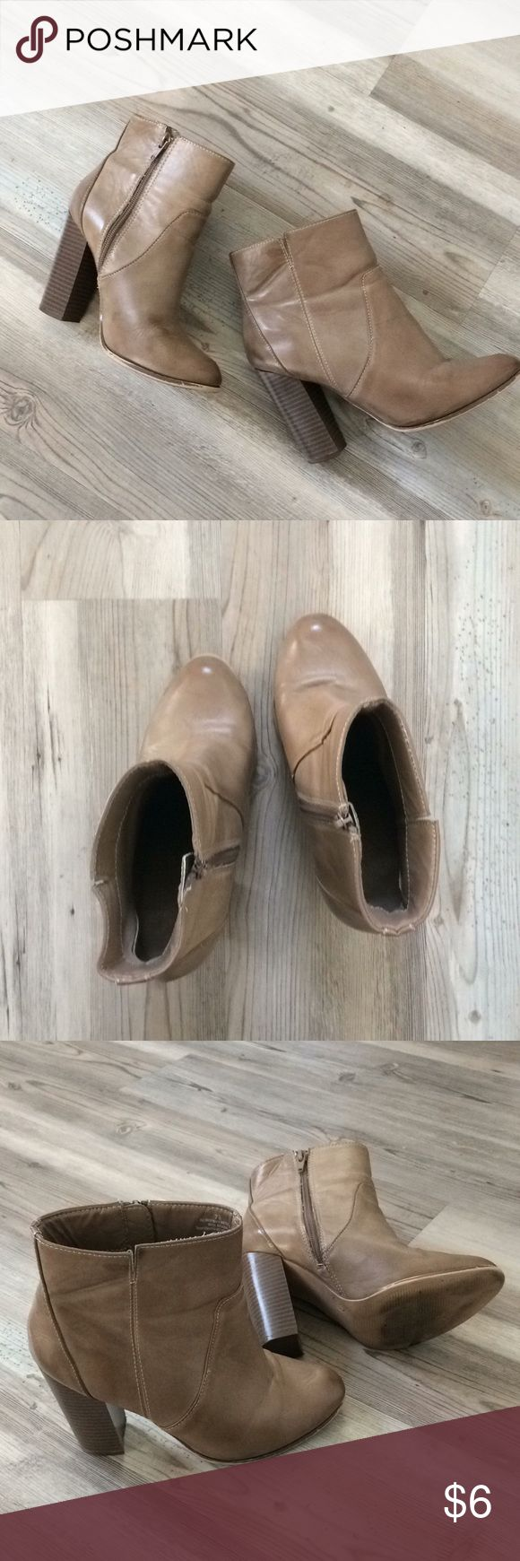 """A+ by Target Boots Tan A+ by Target brand ankle boots w/ 4"""" heels. Good used condition. Zippers fully functional! A+ Shoes Heeled Boots"""