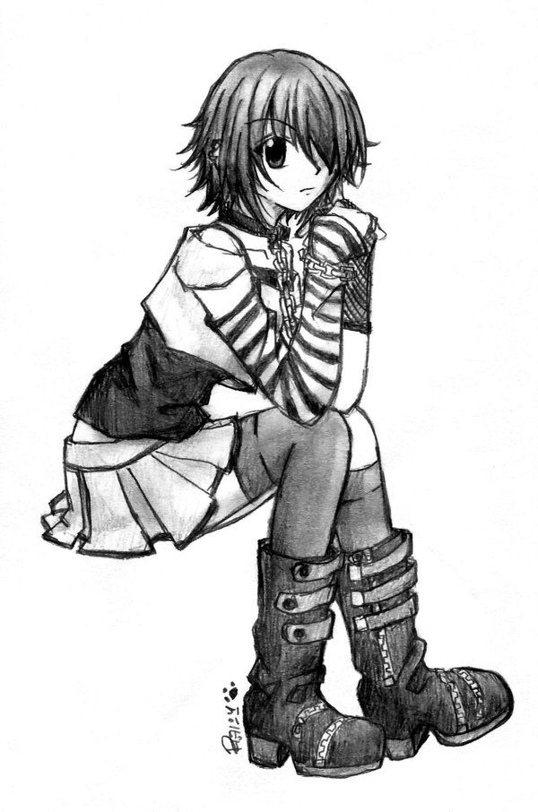 Anime emo girl cute emo girl sketch anime art cute - Sketch anime wallpaper ...