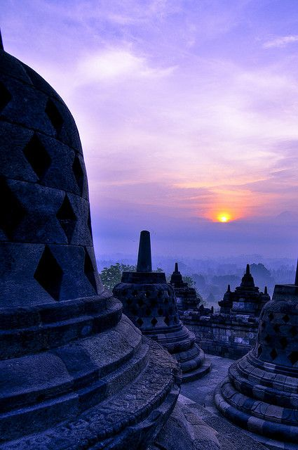 Sunrise at Borobudur, Java, Indonesia