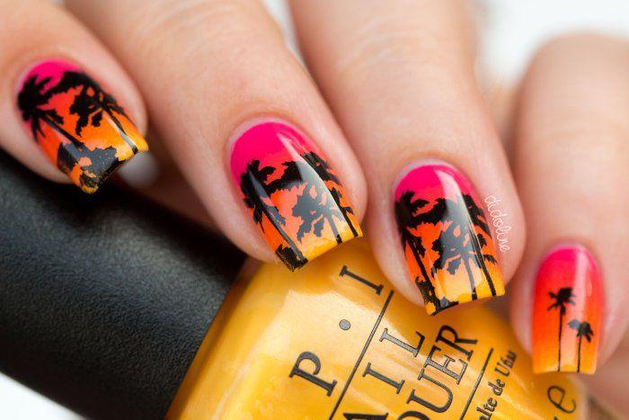 Summer Nails - Dégradé estival avec OPI et palmiers avec Topatopa