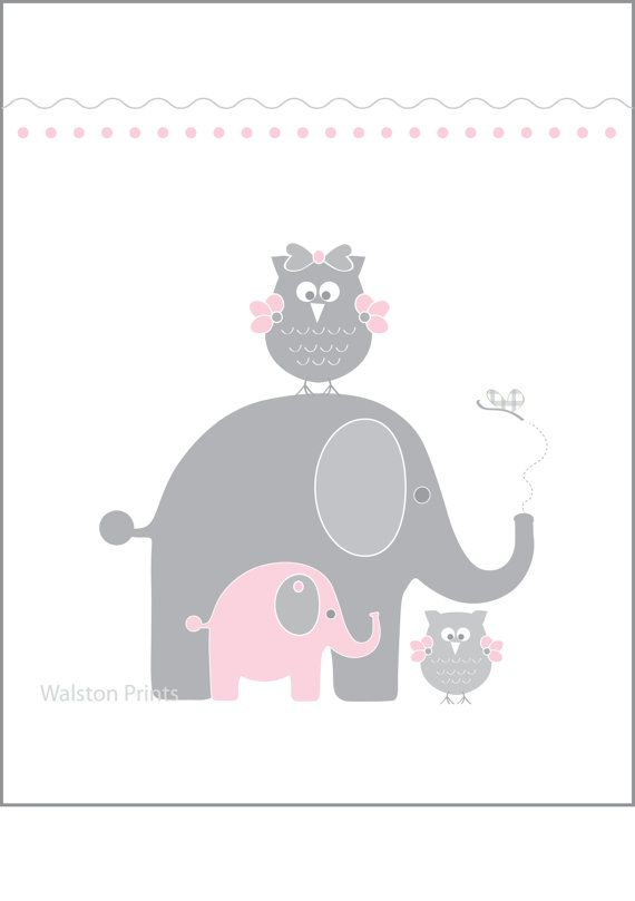 11X14 Elephant and owl wall art for girls pink by walstonprints