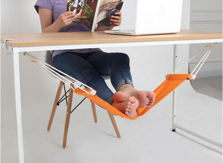 We're going crazy for this adjustable under-desk foot hammock!