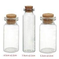 5PCs Tie Plug Tiny Glass Bottle Jewelry Vial Potion  Quantity: 5PCs Material:Glass+Wood Color:Transp