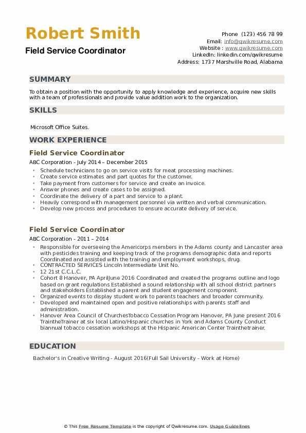 Field Service Coordinator Resume Samples Resume Writing Services Customer Service Resume Resume Services