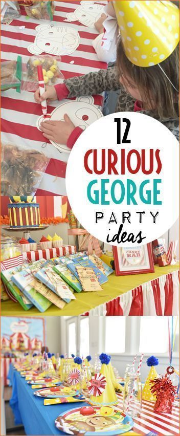 Amazing Curious George Circus Party Ideas. Monkey party decorations, actives and food. The most amazing table displays and decorations for a perfect Curious George Party. Great party ideas for a birthday or baby shower. Girl or boy party ideas. #decoratingideasparty #partydecorationideas