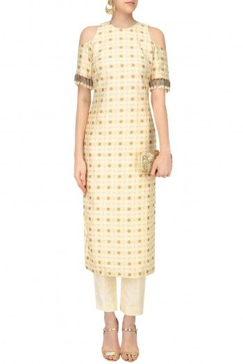 Arpita Mehta Off White Geo Print Cold Shoulder Kurta and Pants Set #happyshopping #shopnow #ppus