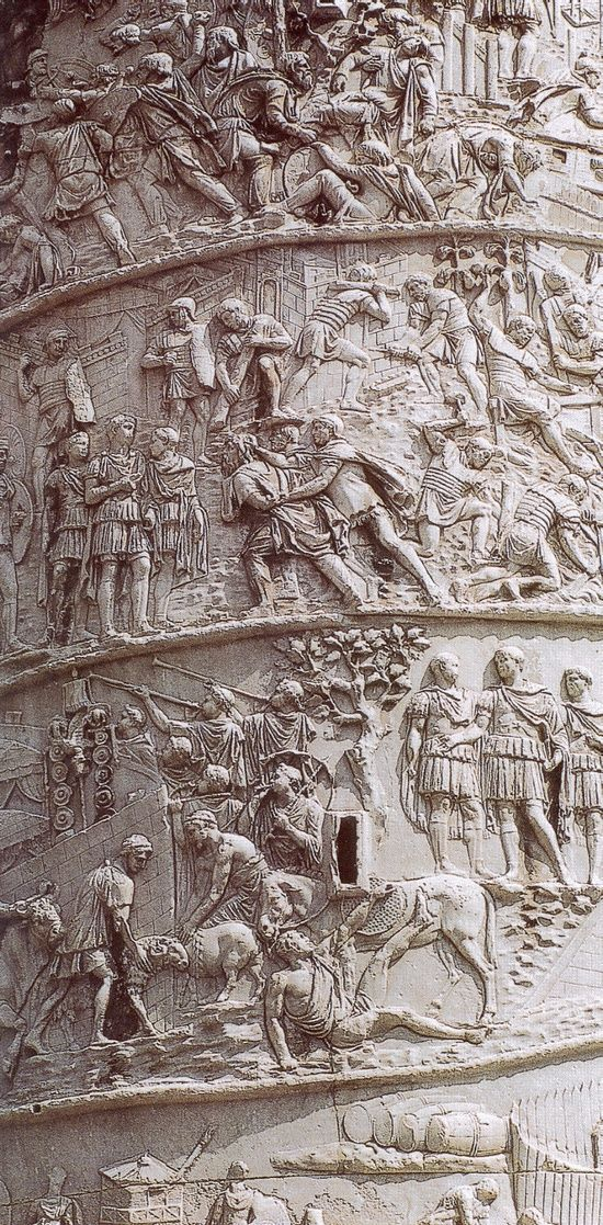 Trajan's column, marble. Rome, Italy. 113 A.D. Commemorating Roman emperor Trajan's victory in the Dacian Wars, completed in 113 AD.