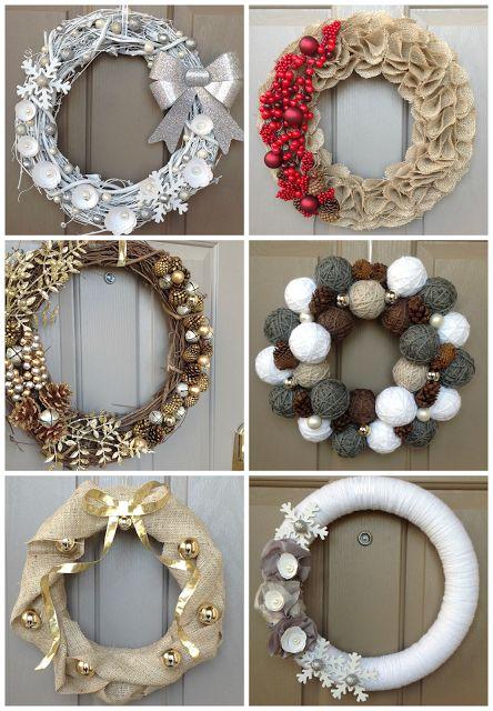 13 winter, holiday and Christmas wreaths. DIY. homemade wreaths. 13 wreath ideas. Popular with the Poplins