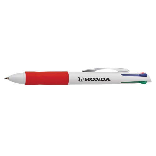 Razzo Ballpoint Pen (5/pack). Plastic with white barrel, chrome clip, coloured trim and comfort grip. Slide-action pen functions. Honda logo printed in black on barrel.