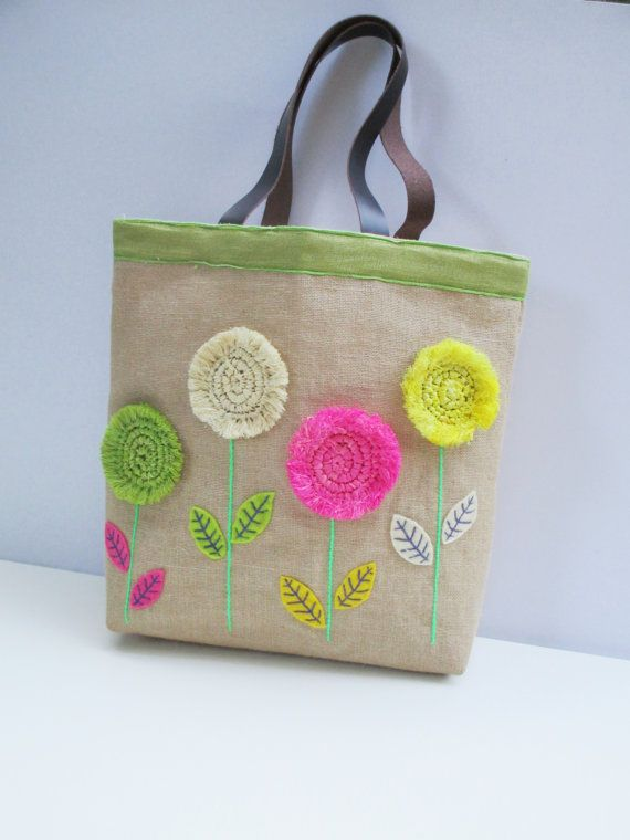 Straw flowers on jute tote bag handmade unique by Apopsis on Etsy
