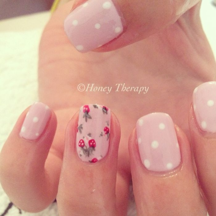 Nails of the Day mixed patterns in pink