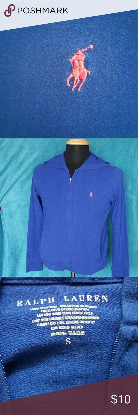 Ladies Ralph Lauren Sweatshirt Blue w/ Pink Pony, Zip up w/ a hood, *bundle friendly* Ralph Lauren Tops Sweatshirts & Hoodies