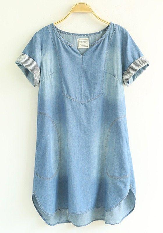 Blue Plain Denim Short Sleeve Dress