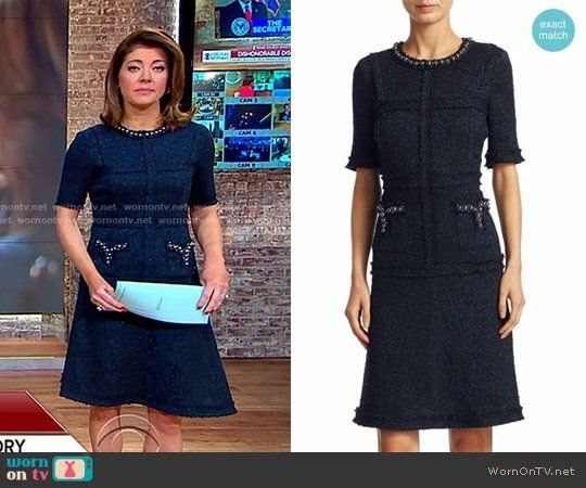 Norah's blue tweed dress with pearls on CBS This Morning.  Outfit Details: https://wornontv.net/85105/ #CBSThisMorning