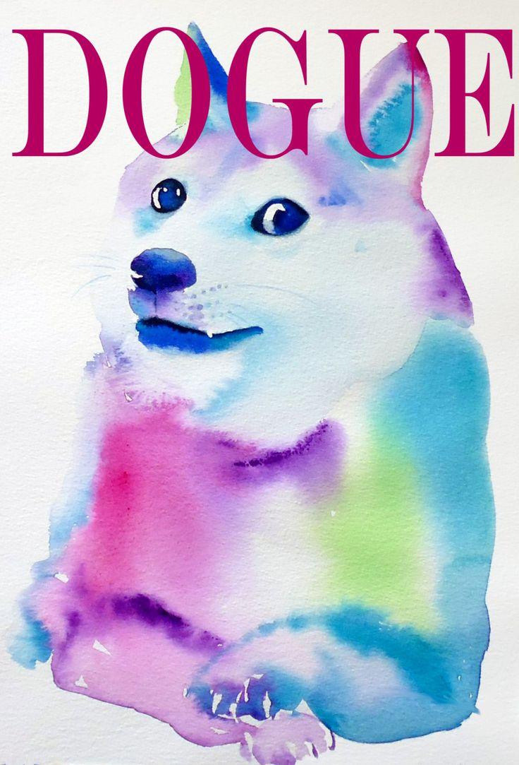 Doge Fashion Illustration Dogue/ Vogue Dog Shiba Enu Art Print Original Watercolor Painting Home Decor Wall Art Pink Blue Gift (14.99 GBP) by KimberlyGodfrey
