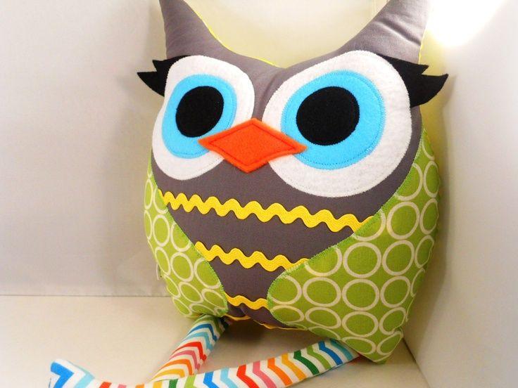 nursery plush toys   Handmade owl Stuffed Animal Doll Baby Toy plush by karensagez