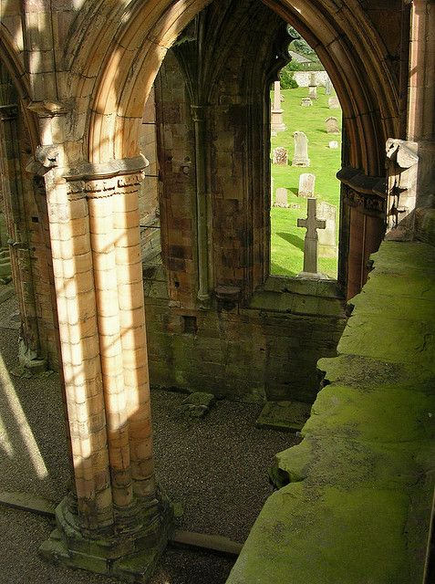 Melrose abbey ruins, Scotland.  12th c.
