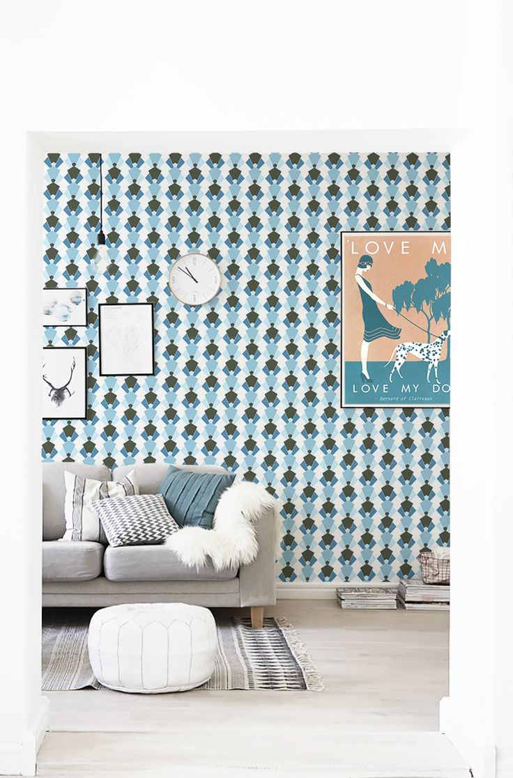 A very Art Deco room! Featuring our Sylvia print on the wallpaper
