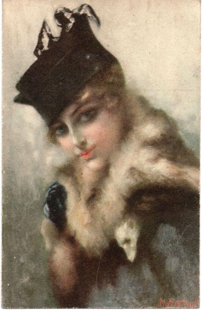 WW1: Artist Signed: MARIO GIUSEPPE BETTINELLI. Beautiful Girl, Italian, Fashion