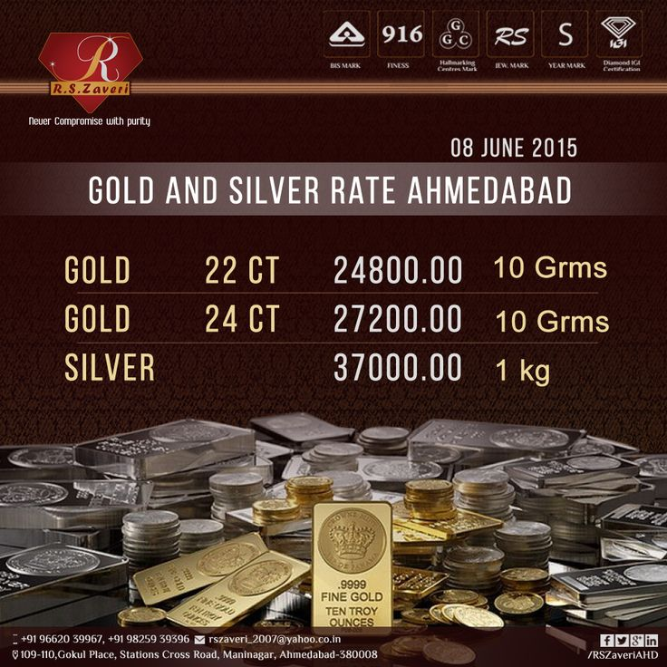 8 June 2015,Monday  Today's Gold and Silver Rate Ahmedabad........  ‪#‎rate‬ ‪#‎Goldrate‬ ‪#‎RSZAVERI‬ ‪#‎Maninagar‬ ‪#‎Gold‬ ‪#‎Daimond‬ ‪#‎Silver‬ ‪#‎GoldBangles‬ ‪#‎goldnecklace‬