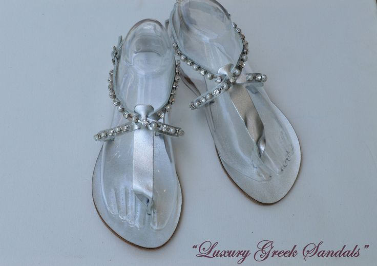 """Silver Bridal Sandals""""Skyros"""" ,Leather Sandals,Decorated Sandals with Crystals and pearls,Wedding Shoes,Luxury Sandals,Wedding Sandals, by OneironPraxis on Etsy"""