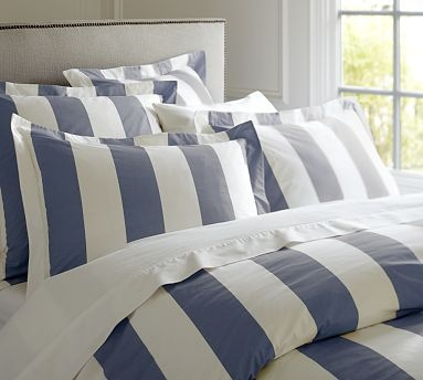 PB Classic Stripe 400-Thread-Count Duvet Cover, King/Cal. King, Lapis Blue.Pottery Barn. $150  Looks pretty, but reviews say it is not soft and does not wash well (fades and tears)