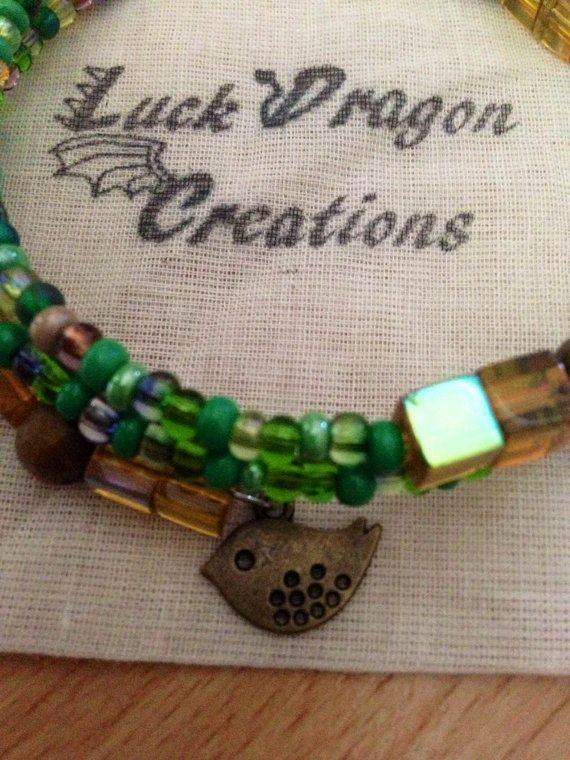 Green and Yellow Memory Wire Bracelet with by LuckDragonCreations