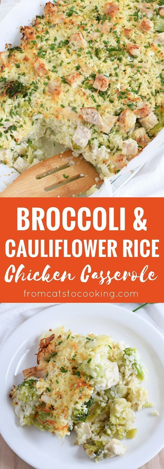 A healthy and cheesy broccoli and cauliflower rice chicken casserole that is perfect for dinner and makes great leftovers. Gluten free, grain free & paleo! // http://fromcatstocooking.com