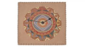 Ceramic clock mandala mod. Ely Ceramic Round clock with mandala drawing engraved pendulum consists of two small mandala and a drop, colored with lands, fired at 980 degrees.