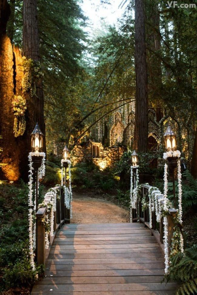 a very extravagant woodland wedding entrance