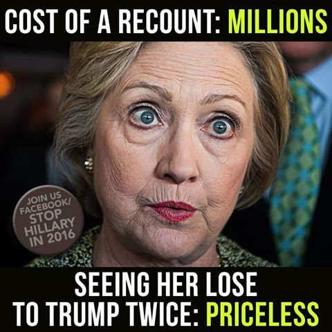 Hillary Killery recount... she has now lost twice... BWAHAHAHA!!! ~@guntotingkafir GOD BLESS AMERICA AND GOD BLESS PRESIDENT TRUMP!!!