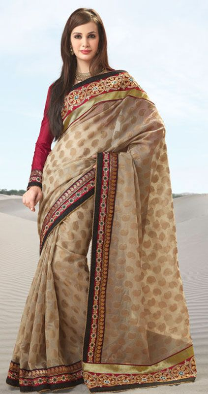 Beige Color Viscosse Designer Saree TJSP2727. Sale : $135.85