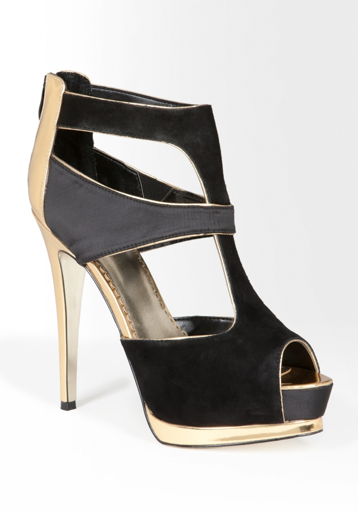 Bebe Robyn Metallic Trim Suede Sandal - Black/Gold - 8.5