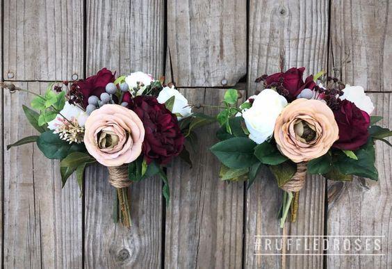 Boho Burgundy Bouquet Burgundy Wine Bouquet Bridesmaids