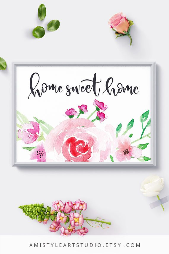 Printable home sweet home wall art - Landscape layout - typography quote with elegant and unique watercolor rose bouquet - by Amistyle Art Studio on Etsy