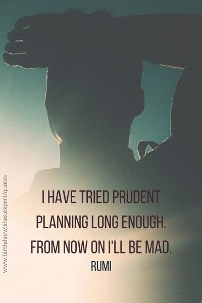 I have tried prudent planning long enough. From now on I'll be mad. Rumi Quotes