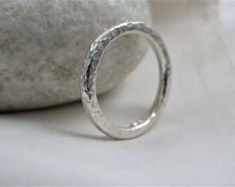 Sterling Silver Sparkly Hammered Ring Size M - Designed And Handmade By CMcB Jewellery UK