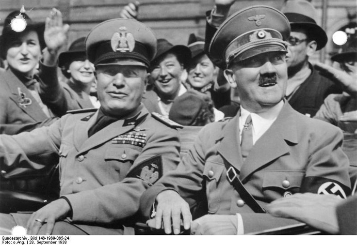 Fascists on parade! Mussolini and Hitler arriving at Munich, Germany for the Munich Conference, 28 Sep 1938