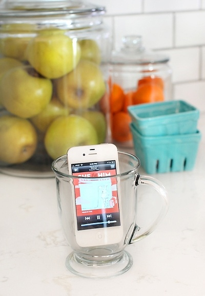 Put your iPhone in an empty glass to amplify the sound, no need for speakers! Why didnt I think of this before!?