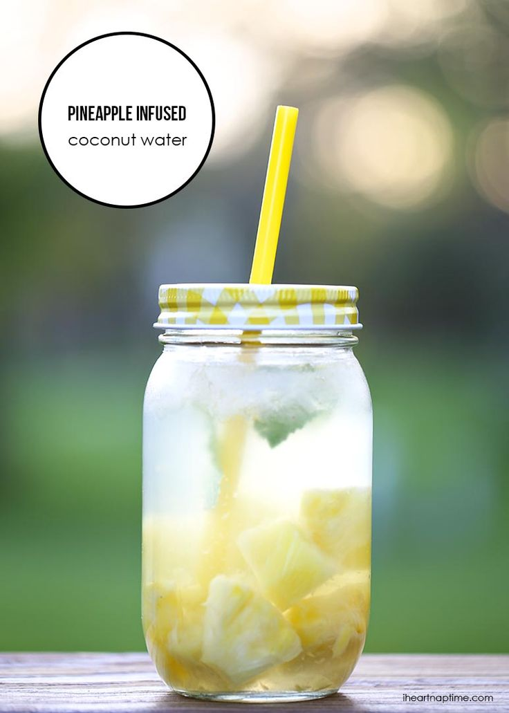 Pineapple infused coconut water on iheartnaptime.com + an easy recipe for making a variety of delicious fruit infused waters!