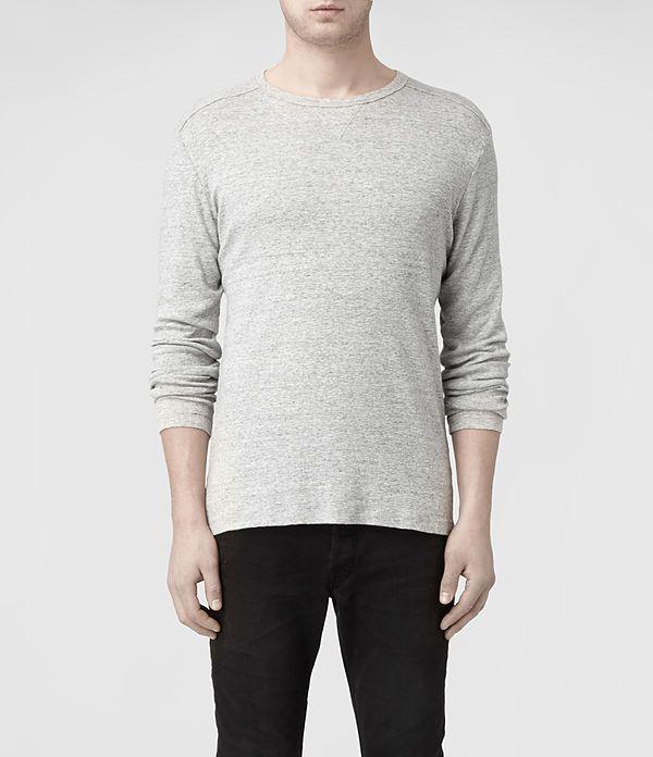 Mens Slater Long Sleeved Crew T-shirt (Charcoal Marl) | ALLSAINTS.com