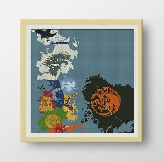 Map of Westeros - cross stitch pattern.  SIZE: Dimensions (14-count aida): 17.7 x 17.7 inches / 45.36h x 45.36w cm (18-count aida): 13.8 x 13.8 inches / 35.28h x 26.25w Fabric: Any fabric you like Types of stitches: Cross stitch only Skill Level: Easy   ONLY PATTERN! This PDF file counted cross stitch pattern is available for instant download.   This PDF pattern Included: - Cross stitch instructions - Color image of the finished design - Color Block Chart - Color Floss Legend with DMC…