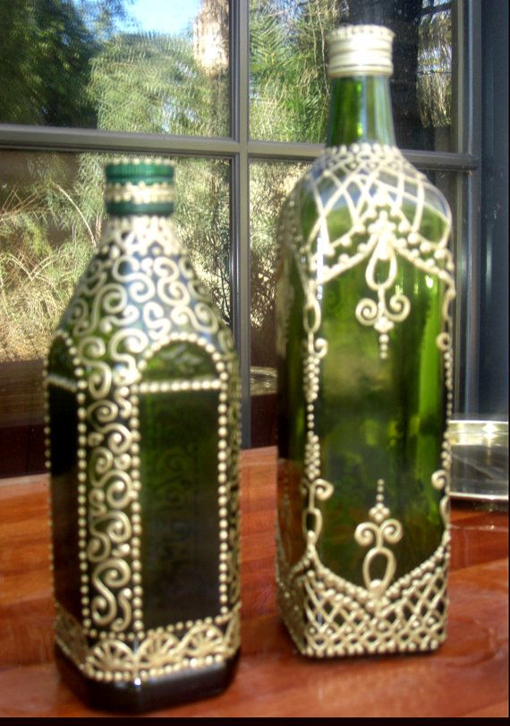 Hand Painted Green Moroccan Henna
