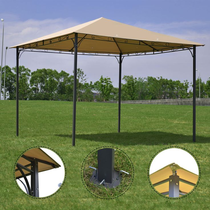Outdoor 10'x10' Square Gazebo Canopy Tent Shelter Awning Garden Patio Tan #Unbranded