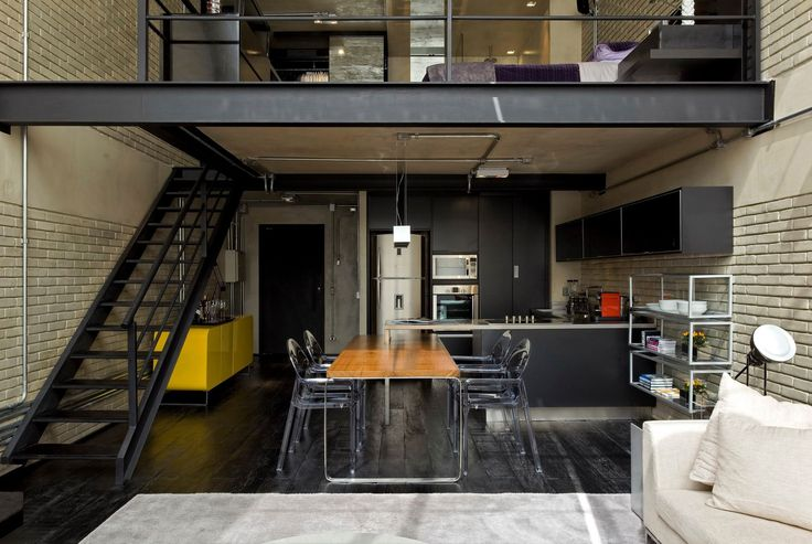 The interior is done in an industrial chic style.