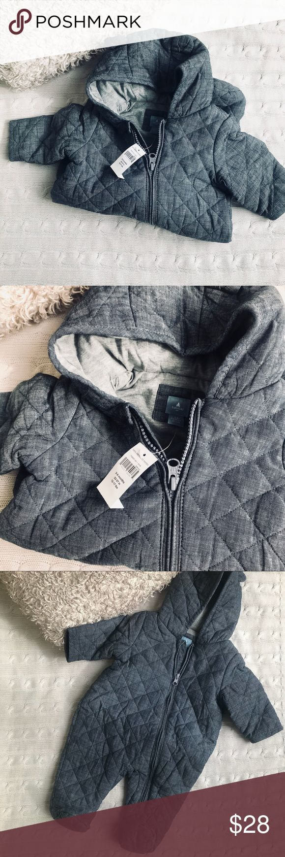 Baby Gap Quilted Snow Suit ❄️ Adorable quilted Baby GAP snowsuit. Cotton jersey lined. Denim and gray. 6-12 mos. never worn. BNWT. GAP One Pieces Footies #babysnowsuit
