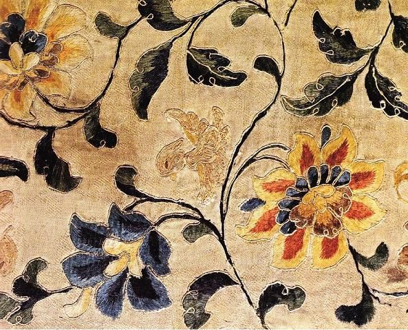 Detail of embroidered panel from the Library Cave. A small duck is shown in the middle among the flowers. Tang Dynasty.