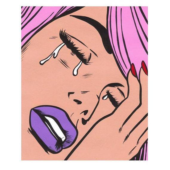 Pink Hair Crying Comic Girl by turddemon on Etsy (Art & Collectibles, Painting, cartoon, comic, face, girls, hair, babe, mod, pink, comics, purple lips, sad, tears, pop art)