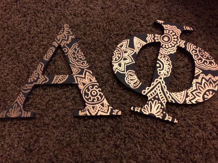 Alpha phi letters! Acrylic paint and paint pen magic! #alphaphi